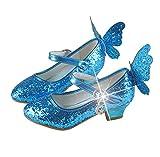 Brinny Enfants paillette Chaussures en Cuir Velcro 4-13 ans Fille Sandales Princesse Chaussures à haut talon volant Papillon