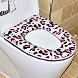 HSDDA Imprimé léopard épaissir Housse pour abattant de WC Toilette Lavable Coussin, Flanelle, Red, 37x43cm
