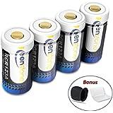 RCR123A Wiederaufladbare Batterien für Arlo Kamera, Keenstone Akku Li-Ion 3.7V 700mAh, Arlo Kamera Silikon Hülle und Batterie Gehäuse Enthalten, Sehr Geeigenet für Arlo Kamera VMS3030 / 3230/3330/3430 (4er Set)