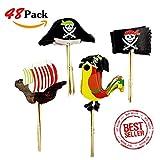 XUNKE 48 Stücke Pirate Kuchen Topper Cupcake Picks Deko Kuchendekoration für Baby Kinder Kindergeburtstag Party