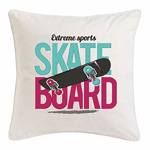 "Kissenbezug 40x40cm ""SKATE BOARD EXTREM SPORT SKATEBORD SKATER SKATEBOARDFAHRER SKATE BORDER"" aus Mikrofaser in Weiß"