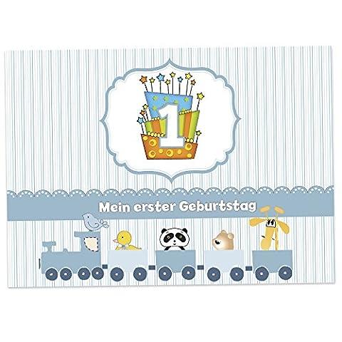 16 Einladungskarten zum 1. Kindergeburtstag - Blau - für Jungen, Geburtstagseinladungen im Set