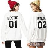 Best Friends Pullover Für Zwei Mädchen Damen Sister Sweatshirt BFF Freundin Pullis Teenager Schwarz Hoodie Buchstaben Bestie Geschenk 2 Stücke(Weiß,bestie-01-S+bestie-02-L)
