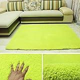 Bath Time Flagship Store LUYIASI- Einfache Moderne rechteckige Lamm Wohnzimmer Couchtisch Schlafzimmer Teppich Non-Slip Mat (Farbe : Grün, Größe : 80x120cm)