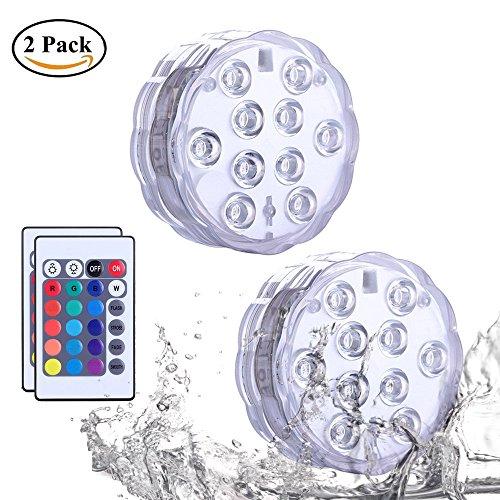 2 Stück Unterwasser Licht, Fernbedienung Wasserdichte LED Unterwasser Licht,LED Farbwechsel,Fernbedienung Multi Farbwechsel Wasserdichte Leuchten für Pool, Aquarium, Teich, Partei, Hochzeit, Feier