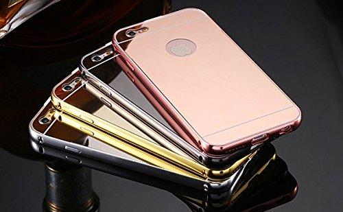 CELL SHIELD Mirror Case Spiegelhülle für iPhone 5/5s 6/6s 7/7s Schutzhülle Hülle Cover Case Aluminiumrahmen verspiegelt - Stark reduziert! Produkteinführungsrabatt! Grau