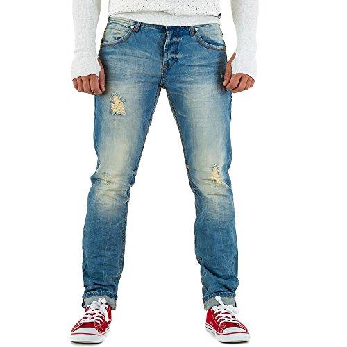Destroyed Slim Fit Jeans Für Herren bei Ital-Design Blau