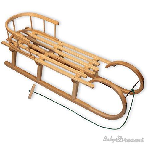 Babys-Dreams Hörnerrodel 100cm mit Rückenlehne & Zugleine Schlitten Holzschlitten Kinderschlitten Hörnerschlitten NEU