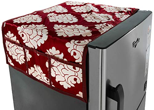Amazon Brand - Solimo Polyester Fridge Top Cover, Maroon