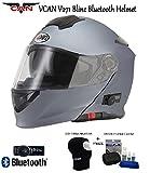 VCAN V271Blinc Bluetooth Flip Front Helm NEU Motorrad GPS MP3FM Gegensprechanlage Helm Modular Matt Titan mit Pflege-Set & Sturmhaube m