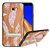 HHDY kompatibel mit Samsung Galaxy J4 Plus /J4 Prime / J4 Core Hülle,Metallständer Kickstand Handyhülle,Schutzhülle aus Hart Holz Soft TPU Bumper,Anti Scratch Wood Cover Case Handyhülle, Feather