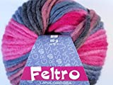 Lana Grossa Feltro Pastello multicolor Filzwolle Schurwolle Wolle freie Farbwahl (362 - Pink - Anthrazit - Lila)