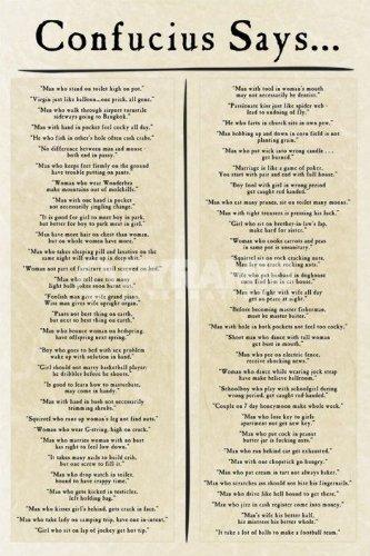 Konfuzius sagt groß Humorvolle Zitate und Sprüche Poster 61x 91,5cm