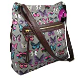 Hey Hey Handbags - Large Across Body Shoulder Handbag, Colour : Butterfly Mint Glitter Canvas
