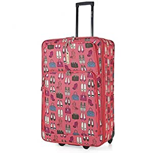 "5 Cities Medium 26"" Super Lightweight Hard Wearing Expandable 2 Wheel Check In Hold Luggage Trolley Suitcase (Peach, Bags & Shoes)"