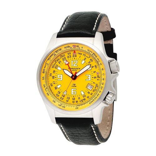 Torgoen t60105s02da uomo Aviator orologio al quarzo con cronografo e cinturino in pelle, colore: nero