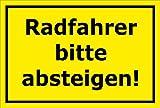 Schild - Radfahrer bitte absteigen - 30x20cm | stabile 3mm starke PVC Hartschaumplatte – S00050-132-C +++ in 20 Varianten erhältlich