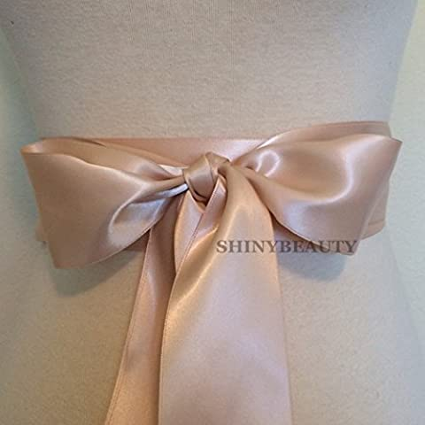 ShinyBeauty 40mm Blush Sash Ribbon Wedding Sash Belt Crystal Applique Decoration
