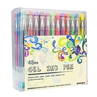Gel pen set, Ariel-gxr 48 packs glitter gel pens,non-toxic,ergonomic design Long Lasting Ink - Metallic, Glitter, Neon, WaterChalk