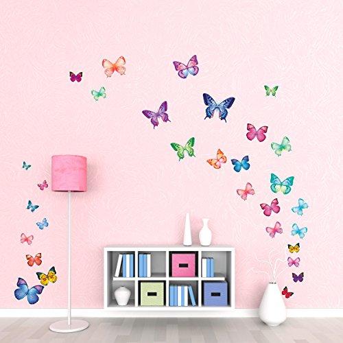 DECOWALL DW-1302 30 Mariposas Vibrantes Vinilo Pegatinas Decorativas Adhesiva Pared Dormitorio Salón...