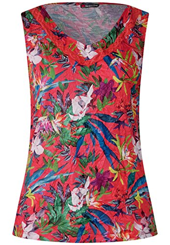 Street One Damen Crash Blumenprint Top Hibiscus Red 42 (Weiches Crash, T-shirt)