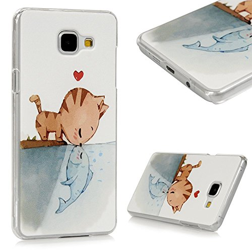 Galaxy A5 2016 Custodia Cover - Lanveni Caso Elegante Rigida PC Ultra Sottile per Samsung Galaxy A5 2016 Trasparente Protective Back Case Cover - Modello Catfish bacio Disegno