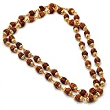 #9: Charms Rudraksh Mala Shiva God Gold Plated Rudraksh Mala Chain Long 28 Inches For Unisex