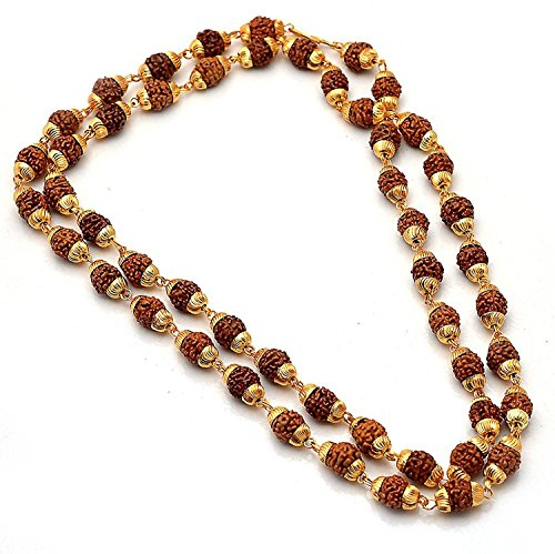 Charms Rudraksh Mala Shiva God Gold Plated Rudraksh Mala Chain Long 28 Inches For Unisex