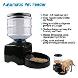 luobin1einfach Automatischer Futterspender für Haustiere hält trockenen Lebensmitteln Haustier Auto Spender mit Voice Recorder Schwarz -
