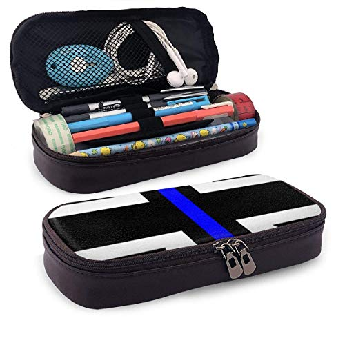 Union Jack Thin Blue Line Flag Pencil Case Pouch Large Capacity Pen Bag Double Zippers Multifunction Makeup Bag Stationery Bag Cosmetic Bag with Compartments