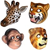4 Kunststoff-Jungle Safari Animal Masken-Schimpanse, Giraffe, Löwe und Tiger-Kostüm Kleid