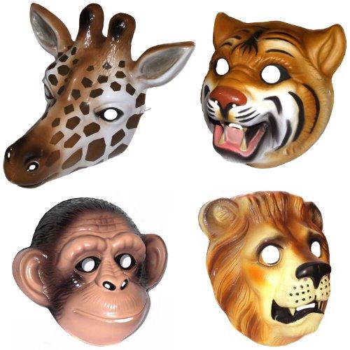 Kunststoff-Masken, Design Dschungel/Safari, Tier-MaskenGiraffe, Affe, Löwe und Tiger, für Karnevalskostüm, 4 (Kunststoff Tiger Maske)