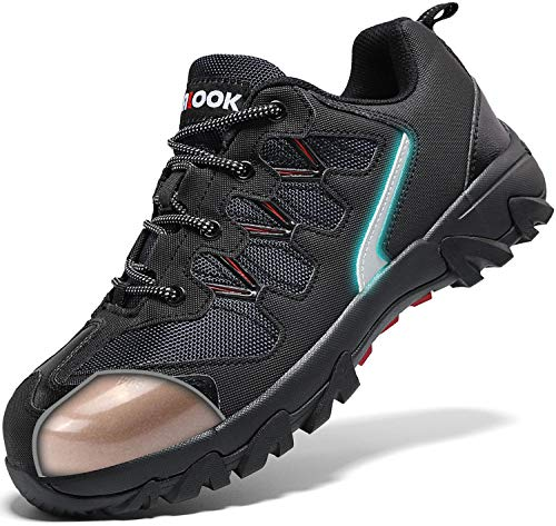 ASHION Stahlkappe Sicherheitsschuhe Herren, Industrie Handwerk Schuhe Atmungsaktiv Leichte Reflektierende Arbeitsschuhe(A-Schwarz,42 EU) -