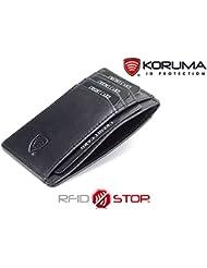 Portefeuille cuir noir compartiments rabattables, protége des cartes de crédit, débit bloquant les signaux RFID Porte-monnaie