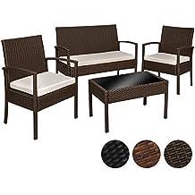 TecTake Conjunto muebles de Jardín en Poly Ratan Sintetico - negro 4 plazas, 2 sillones, 1 mesa baja, 1 banco - disponible en diferentes colores - (Brown antiguo   No. 402113)