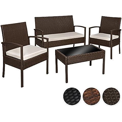 TecTake Conjunto muebles de Jardín en Poly Ratan Sintetico - negro 4 plazas, 2 sillones, 1 mesa baja, 1 banco - disponible en diferentes colores - (Brown antiguo | No.