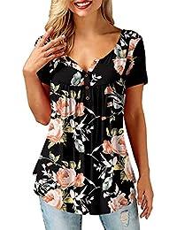 Amoretu Tunika Damen Blumen T-Shirt V Ausschnitt Langarm Knopfleiste Bluse Oberteil