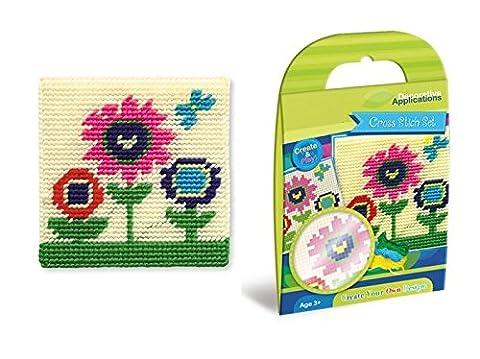 Kit loisirs créatifs pour enfant - Canevas gros trous pour enfant Fleurs