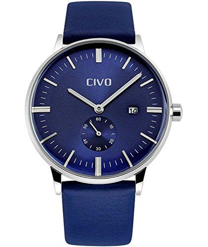 CIVO Herren Uhren Lederband Männlich Luxus Zeitloses Einfaches Entwurf Klassisch Modisch Geschäfts Quarzuhr Männer Wasserdichte Casual Kleid Kalender für Herren Armbanduhr Uhren (Blau)