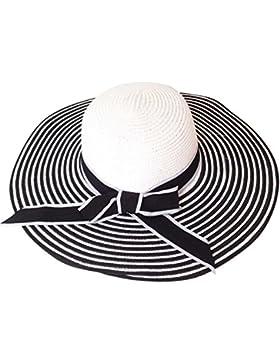 Moollyfox Mujer Verano Elegancia Sombreros de Paja de Sol, Playa Gorra Ala Ancha Sombrero Negro Blanco Rayas