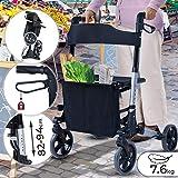 Lightweight Foldable Rollator | Seat and Backrest, 4 Wheels / Dual Brake System / Stick Holder & Storage Bag, Height Adjustable (82-94cm) | Wheeled Walking Aid, Frame, Walker