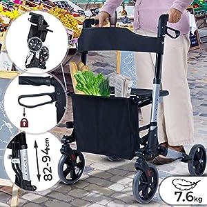 Rollator 3-fach Faltbar und Leicht – Sitz mit Rückenlehne, 4 Räder/Bremsen/Einkaufstasche & Stockhalter, Höhenverstellbar – Gehhilfe, Laufhilfe, Gehwagen, Leichtgewichtrollator