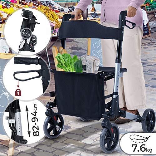 Rollator 3-fach Faltbar und Leicht | Sitz mit Rückenlehne, 4 Räder/Bremsen/Einkaufstasche & Stockhalter, Höhenverstellbar | Gehhilfe, Laufhilfe, Gehwagen, Leichtgewichtrollator