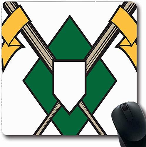 Luancrop Mousepad Oblong Green Diamond gekreuzte Fledermäuse Baseball Sport Erholung Crest Emblem Platte Insignia Design Office Computer Laptop Notebook Mauspad, rutschfeste Gummi -