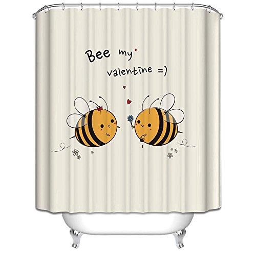 Preisvergleich Produktbild Zwei Cute Cartoon Bienen Decor Wasserdicht Polyester- und Schimmelresistent-Badezimmer Dusche Vorhang, Polyester, 180*200cm