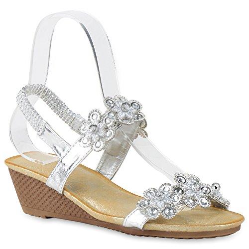 Bequeme Damen Sandaletten Keilabsatz Strass Spitze Wedges Schuhe Silber Silber Blumen