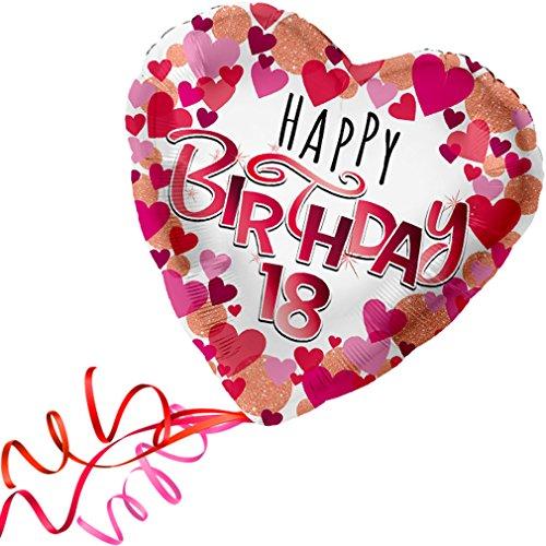 > > > Fertig Heliumbefüllt < < < Großer Folienballon Herz 18 - 18. Geburtstag Happy Birthday Ballon mit Helium/Ballongas gefüllt von Haus der Herzen®