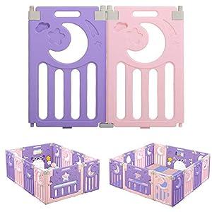Dripex Laufgitter Laufstall Zusatzpaket 2 Seitenelemente 2 Elemente Paneele Schutzgitter Krabbelgitter für Kinder (2 Paneele Blau-Weiß)