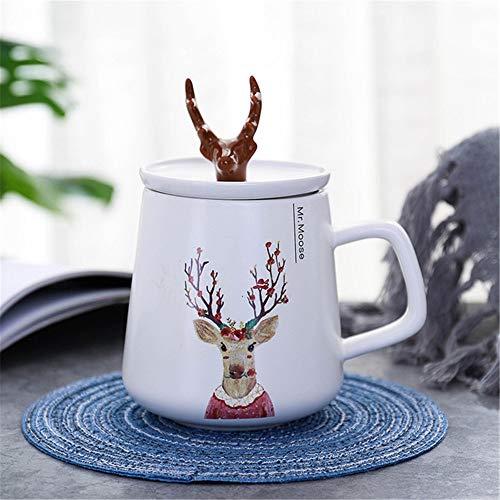 Keramikschale des kreativen Geweihs der nordischen Art mit Deckelkarikaturbecherstudenten-Paarschalen-Kaffeetasse ein Blumenrotwild