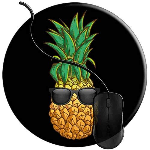 Mauspad Ananas-Sonnenbrille Aloha Beaches Hawaii, Runde Gaming Mauspad Matte Reibungslos Weich Rutschfester Gummi Basis für PC Laptop 1U1067